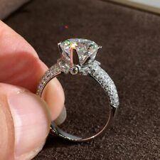 Engagement Rings Women Jewelry 6-10 925 Silver Luxury Round Moissanite Diamond