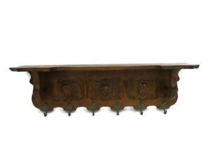 Large Hand Carved Wood French Oak Wall Shelf Coat Kitchen Rack Breughel Style