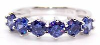 Sterling Silver Tanzanite 1.48ct Round Cut Eternity Ring (925)