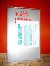 1988 DODGE LANCER LANCER ES ORIGINAL FACTORY OPERATORS OWNERS MANUAL PACKAGE
