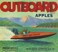"""RARE OLD ORIGINAL 1949 MINI HYDROPLANE """"OUTBOARD BRAND"""" LABEL CHELAN-MANSON WASH"""