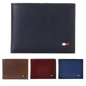 Tommy Hilfiger Men's Slim Valet Passcase Genuine Smooth Leather Bifold Wallet