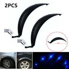 2X 58CM Car SUV Fender Wheel Eyebrow Protector Sticker with Blue LED Light Black