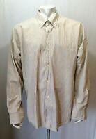 Timberland Men's XXL Button Down Long Sleeve Yellow Gray Striped Casual Shirt