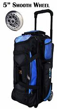 KAZE SPORTS Deluxe 3 Ball Roller Bowling Bag with Smooth PU Wheels