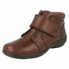 Ladies Easy B Extra Wide Fit Casual Hook & Loop Leather Ankle Boots Path