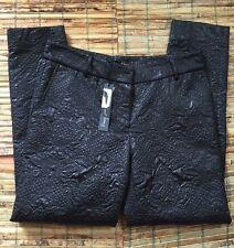 Elizabeth and James Brocade Pants Size 6 Black NWT Winston Cigarette Trousers