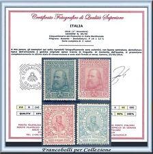 1910 Italia Regno Garibaldi n. 87/90 Centrati Certificato Nuovi Integri **