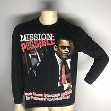 Barack Obama Long Sleeve Mission Impossible Black Tee Shirt Sz XL