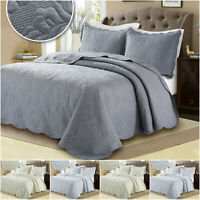 3 Piece Quilted Bedspread Throw & Pillow Shams Set Double King Size Embroidered