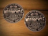 2x Motorcycle Aufkleber Sticker Cafe Racer Bobber Scrambler UK Vintage TOP #124