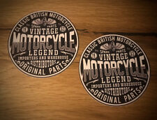 2x Motorcycle Aufkleber Sticker Cafe Racer Bobber Scrambler UK Vintage TOP #124