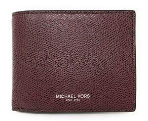 Michael Kors Warren Men's Pebbled Leather Slim Billfold Wallet (Raisin) NO BOX