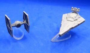 2 x STAR WARS MICRO MACHINES; STAR DESTROYER & TIE-FIGHTER EXCELLENT