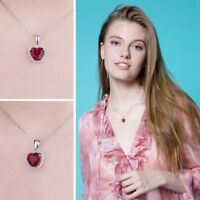 925 Sterling Silver Red Ruby Heart Cubic Zirconia Pendant Box Chain Necklace