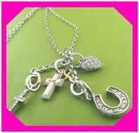 BRIGHTON LILLIAN AMULET Charm Holder Inc 4 Charm Cross Heart Necklace NWtag