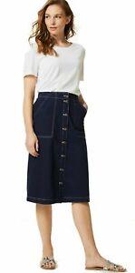 M&S Pure Cotton  A-Line Knee Length Cargo Skirt Plus Size 24 BNWT