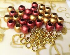 35 Rondelle Spacers Metallic Gold,Rust 12mm, large hole & alloy spacer*Free P&P*