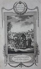 Auténtica impresión antiguo, África, tres monumentos de los Reyes de Guinea, 1777