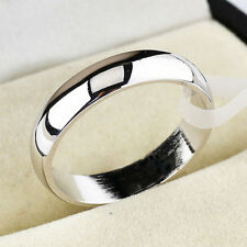 4mm Women Stainless Steel Polished Wedding Engagement Party Band Ring SZ 5-13