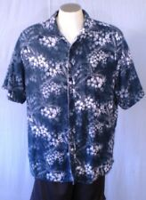 Margaritaville Blue XL Hawaiian Shirt White Flowers Leaves Cotton