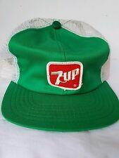 Vintage 7 Up Soda Trucker Mesh SnapBack Ball Cap Hat - USA Made - Rare