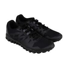 eb6ea9f1e52c Reebok Realflex Train 5.0 Mens Black Mesh Athletic Lace Up Training Shoes 8