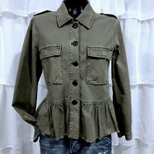 Small - NWT LUCKY BRAND Green Linen Blend Peplum Shirt Jacket