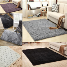 Large Shaggy Floor Rug Plain Soft Sparkle Area Mat Thick Pile Glitter Foldab--es