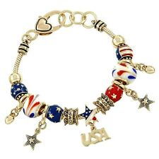 USA Charm Bracelet Beaded GOLD RED BLUE Flag Patriotic Celebrate Theme Jewelry