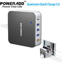 Poweradd 40W 5 USB 3.0A Fast Charger Quick Charge USB-C Wall Charger Adapter US