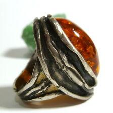 55 (17,5 mm Ø ) 925925 fatto a mano Anello in argento ambra ricoperto 19,2 G