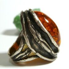 55 (17,5 mm Ø) 925er Handarbeit Silber Ring Bernstein Besatz 19,2 g