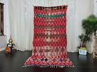 """Moroccan Handmade Vintage Tribal Rug 4'x7'9"""" Geometric Red Green Wool Berber Rug"""