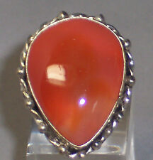 STERLING SILVER HUGE PEAR SHAPED PEACH COLOR AGATE RING - SIZE 6.25