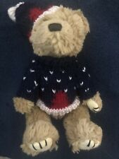 "Hugfun Int'l Inc Costco 1998 Plush 9"" Bear Stocking Cap Red White Blue Sweater"