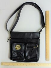 Womens Chateau Black Satchel Purse Ladies Hand Bag with Gold