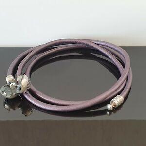 Pandora Purple Smooth Triple Leather Silver Clasp Bracelet 52cm 590714 Free Post