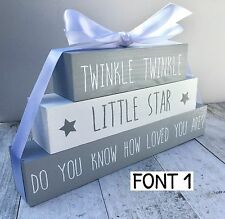 Twinkle twinkle sign plaque blocks, new baby nursery gift christening  FREE P&P