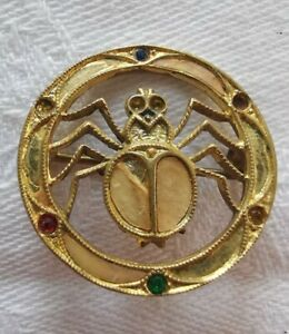 Vintage Cute Spider Gold Tone Brooch - *Missing a Stone*