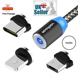 3 in 1 Magnetic Fast Charging USB Cable Charger 2A Phone Type-C Micro USB IOS