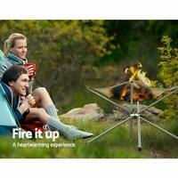 Portable Foldable Campfire Rack Outdoor Camping Burning Fire Fireplace Pit D5R3