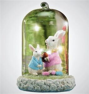 Easter Bunny Glass Cloche Tabletop Figurine Lighted Spring Decor