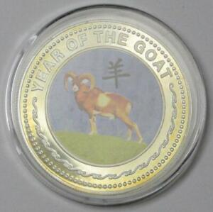 2003 Mongolia Large Proof C/N Pattern 100 Togrog YEAR OF THE GOAT Silver Coin