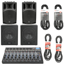 QTX 2000W Active PA System for Live Bands with 10-Channel USB Mixer