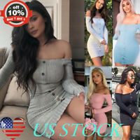 Women One Shoulder Button Down Sundress Long Sleeve Bodycon Slim Fit Tight Dress