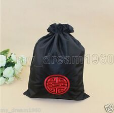 1pcs Chinese Embroidered Fortune Silk Clothes Pouch Shoes Storage Bag Pouch New