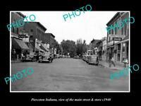 OLD LARGE HISTORIC PHOTO OF PIERCETON INDIANA, THE MAIN STREET & STORES c1940