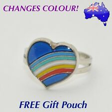 Rainbow Love Heart Mood Ring Temperature Emotion Feeling Colour Changing Rings