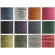 ROUND 3MM WAXED PLAITED CORD NON-ELASTICATED STRINGING *13 COLOURS* TRIMMING
